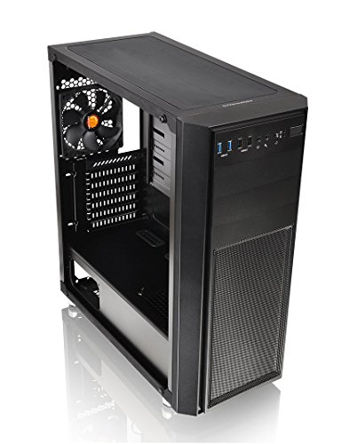 Thermaltake Versa H26 Tempered Glass Spcc ATX Mid Tower Gaming Computer Case Chassis, AIO Liquid Cooling Compatible CA-1J5-00M1WN-00