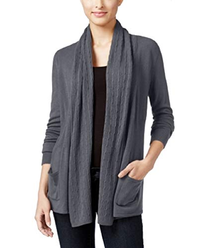 (Karen Scott Petite Open-Front Cable-Knit Cardigan (Charcoal Heather, PS))