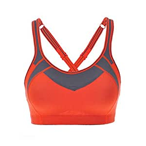 Women's Comfort Sports Bra Running Bra(38D, Orange)