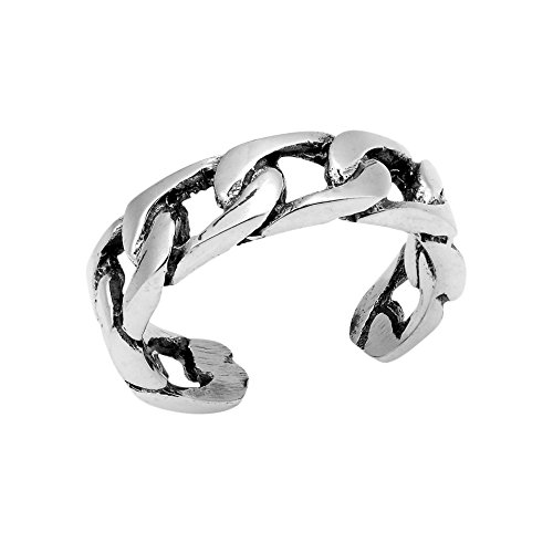Chain Silver Toe Ring (Strong Bonded Celtic Curb Chain Link .925 Sterling Silver Toe Ring or Pinky Ring)