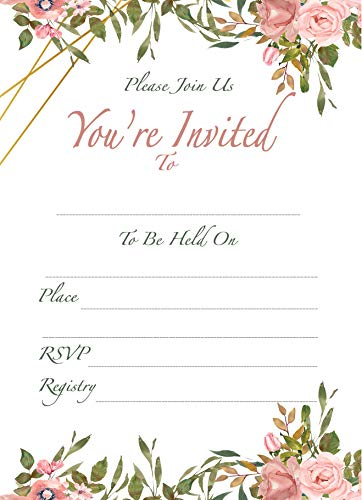 Set of 25 Floral Invitations Include 25 envelopes. Quality & Heavy 14 pt. Paper Matte with envelopes Included. Invitation for Bridal Shower, Wedding, Baby Shower and Birthdays. ()