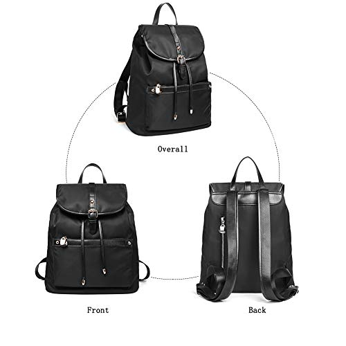 for Purse Women Bag Backpack BOSTANTEN School Black Nylon Water Travel Lightweight Fashion Backpacks Resistant SwPBaq1