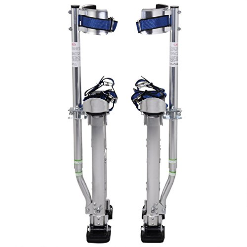 Alightup Aluminum Tool Stilts 15 to 23 Inches Height Adjustable Drywall Stilt Lifts for Taping Painting Finishing Portable Lifting Tool Silver