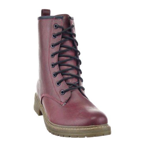 Sopily - Scarpe da Moda Stivaletti - Scarponcini Rangers al polpaccio donna Tacco a blocco 3.5 CM - soletta tessuto - Rosso