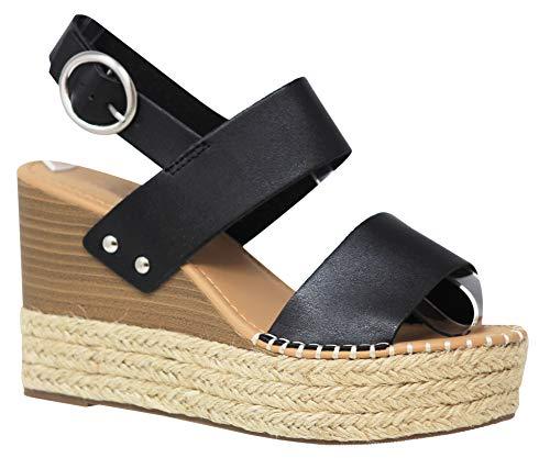 (MVE Shoes Women's Ankle Buckle Espadrille Platform Sandals, Trip Black PU 6.5)