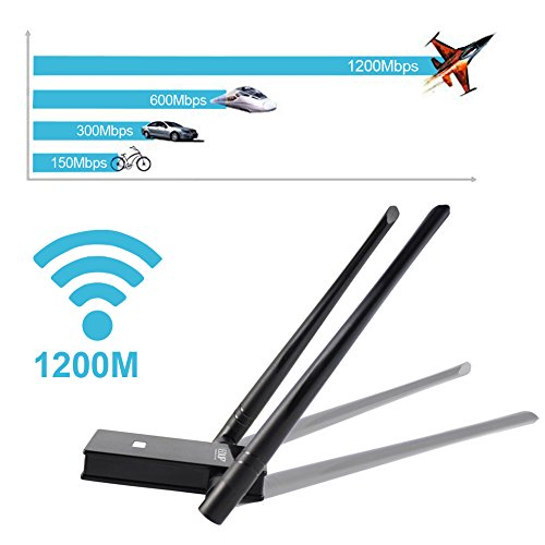 Wifi Adapter, EDUP USB 3.0 Wireless Adapter 802.11AC 1200Mbps Dual Band with 5G 867Mbps/2.4G 300Mbps 6Dbi External Dual Antennas Supports Windows XP,Win Vista,Win 7,Win 8.1, Win 10,Mac OS X 10.6-10.13 by EDUP (Image #1)