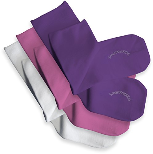SmartKnitKIDS Seamless Sensitivity Socks 3 Pack (Pink/Purple/White, Large)