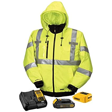 07d766bc DEWALT DCHJ070C1-M 20V/12V MAX High-Vis Heated Jacket Kit, High-Vis, Medium
