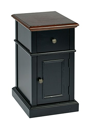Office Star Oxford Solid Wood and Veneer Side Table, Black Body with Cherry Top For Sale
