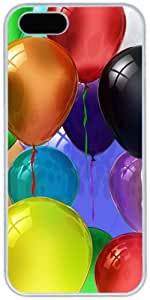 Colorful Balloons Render Apple iPhone 5 5S Case, iPhone 5/5S Hard Shell White Cover Cases by iCustomonline
