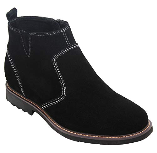 CALTO Men's Invisible Height Increasing Elevator Shoes - Black Nubuck Leather Mid-top Casual Zipper Boots - 3.2 Inches Taller - Y41082 - Size 8 D(M) ()