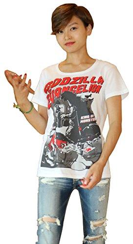 地球防衛軍秘密基地本部 怪獣Tシャツ ゴジラ VS エヴァンゲリオン 白 サイズ:S