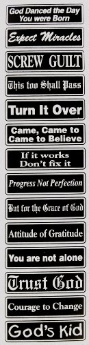 tivational Multiple Saying Strip Bumper Sticker, #St9, Color - Black & Silver (Motivational Bumper Stickers)