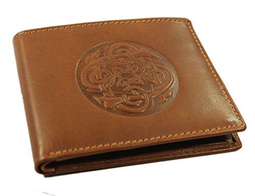 Celtic Wallet Irish Wolf Hound Design Leather Brown