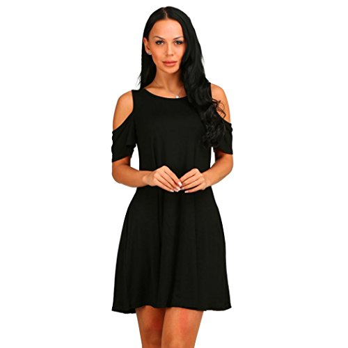 Side Deco Ring (Forthery Women's Sleeveless Pockets Casual Swing T-shirt Dresses (M, Black))