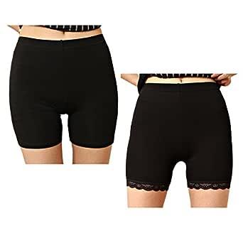 Liang Rou Women's Ultra Thin Stretch Short Leggings Plain Black XXL