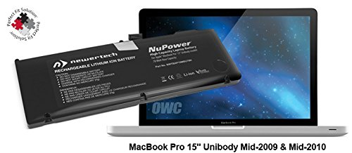 NewerTech 78Wh NuPower Lithium-ion Replacement Battery for 15'' MacBook Pro Mid 2009 & Mid 2010 by Newer Tech
