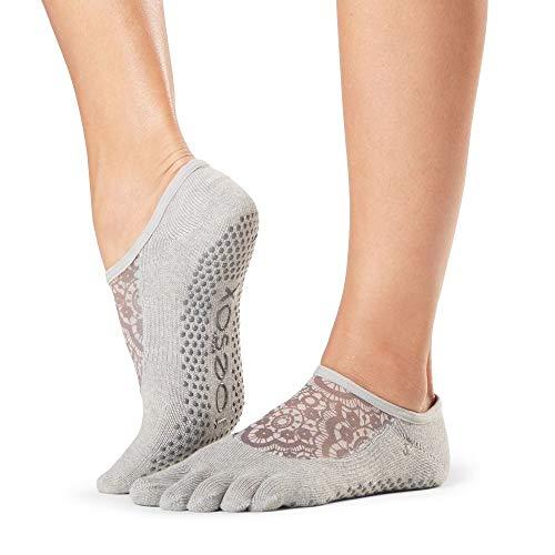 Toesox Womens Toesox Grip Pilates Barre Socks Non Slip Luna Full Toe for Yoga /& Ballet Socks