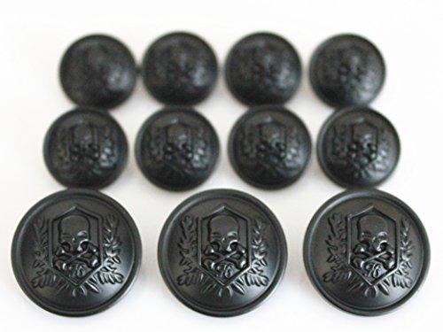 YCEE 11 Pieces Silver Vintage Metal Blazer Button Set - Skull - For Blazer, Suits, Sport Coat, Uniform, Jacket (Black Button Studio)