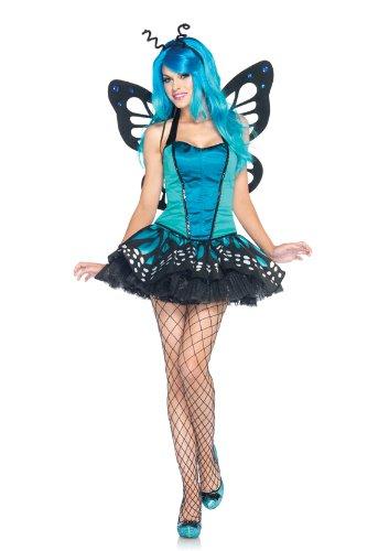 Leg Avenue Women's 3-Piece Swallowtail Butterfly Bustier, Tutu Skirt and Antennae Costume (Blue, Medium) (Butterfly Bustier)