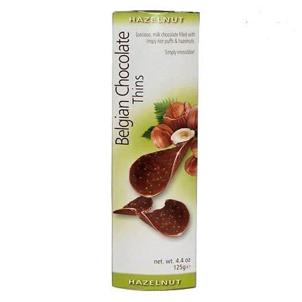Belgian chocolate thins 4.4oz, pack of 1 (Hazelnut) (Hazelnut Chips Chocolate)