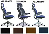 Freedom HumanScale Leather Chair F213 with Headrest Night Blue Vicenza Leather Polished Aluminum Chrome Frame Advanced Height Adjustable Duron Arms Standard Chair Seat Height