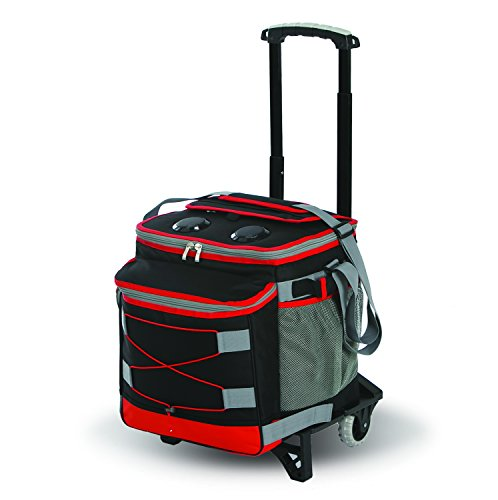 (Picnic Plus Bluetooth Music Rolling Cooler by with 2 Speakers, Detachable Trolley, Rechargeable Power Pack, Holds up to 48 Cans. Folds Flat for Storage (Black/Red))
