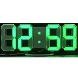 Zehui Modern Digital LED Wall Clock Table Desk Night Electric Clock Alarm Watch Multi-Functional LED Clock 24 or 12 Hour Display Digital Clock Green