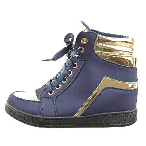 Sopily - damen Mode Schuhe Hohe golden glänzende - Blau