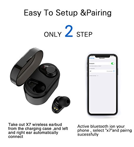 True Wireless Earbuds Langsdom X7 Mini Bluetooth 4.2 Headphones In-Ear Noise Isolating Earphones with Mic Smart Touch Control and Portable Charging Box for iPhone Samsung and More by Langsdom (Image #4)