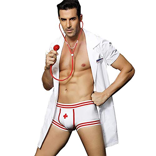 XinYiQu Mens Sexy Lingerie Set Role Play Doctor Uniform Night Club Costume Outfit White -
