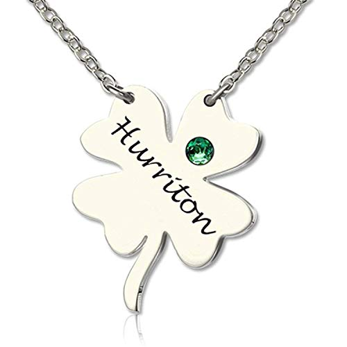 (EVER2000 Custom Name Necklace, Sterling Silver Four Leaf Clover 18K Rose Gold Necklace Personalized Engraved Name Pendant Jewelry Ideal Gift for Friend)