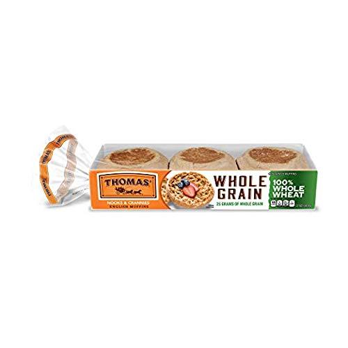 Thomas', 100% Whole Wheat English Muffins, 6 ct, 12 oz - 2 Packs -