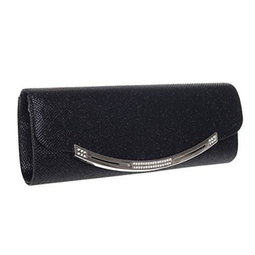 Womens Crystal FASHIONROAD Clutch And Glitter Black Wedding Evening Party For Clutch Purse ZEIq1nw