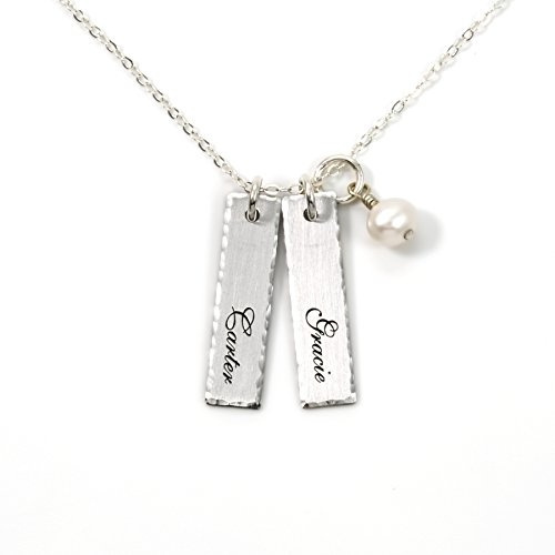 Double Bar Sterling Silver Personalized Necklace with Swarovski Pearl. Includes 2 Customizable Charms and your Choice of Sterling Silver Chain. Gifts for Her, Mom, Wife
