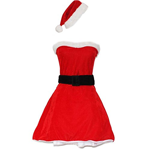 Black Temptation Women's Strapless Mrs Santa Christmas Costume]()