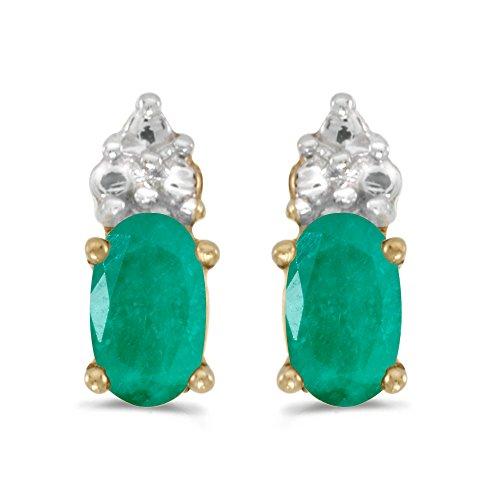 5x3mm Oval Emerald (10k Yellow Gold 5x3mm Oval Emerald Earrings)