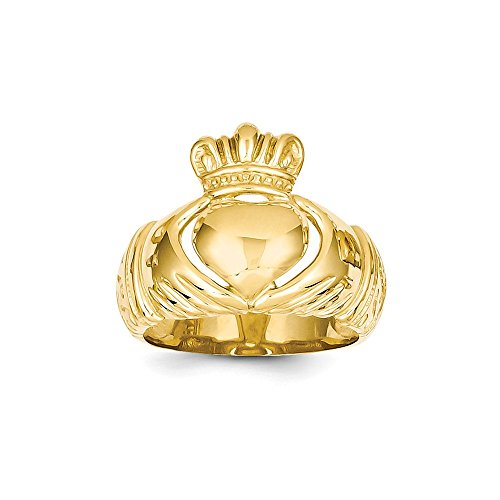Size 8.5 - Solid 14k Yellow Gold Polished Domed Claddagh Ring (10mm)