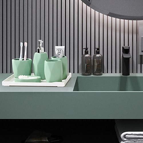 FXin バスルームアクセサリー、ノルディックスタイルセラミックバスルームキットセットの6セットのモデルルーム装飾、6色、2スタイルの5セット シャワー室 (Color : Green, Size : Six sets)