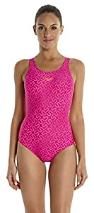 Speedo Damen Badeanzug Monogram Muscleback mit Allover-Print, magenta/fluo...