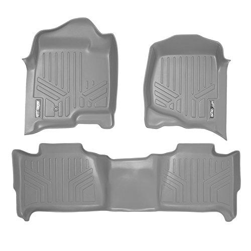 SMARTLINER Floor Mats 2 Row Liner Set Grey for 2007-2014 Tahoe/Suburban/Yukon/Yukon XL/Denali (No Hybrid Models)