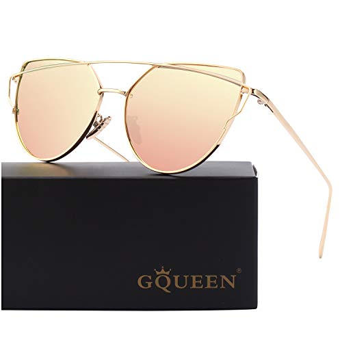 GQUEEN Cat Eye Mirrored Flat Lens Street Fashion Metal Frame Polarized Sunglasses for Women,Gold Pink