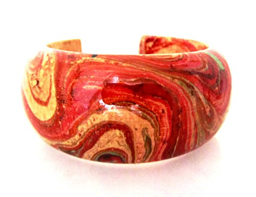 Blue Orchid Hand Painted Wood Bracelet Bangle Open Cuff for Women Abstract Large (Fruit Punch) -