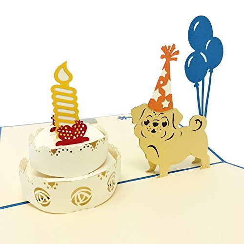 Pop up card Pug Happy Birthday - 3D Greeting for All Occasions Love, Thank you, Anniversary, Get well, Congrats, Good Luck, Pet - Premium Paper, Handcrafted, Fold flat, Blank Inside, with Envelope]()