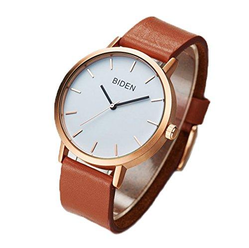 ALPS Womens Mens Unisex Waterproof Simple Casual Analog Quartz Brown Leather Band Dress Wrist Watch