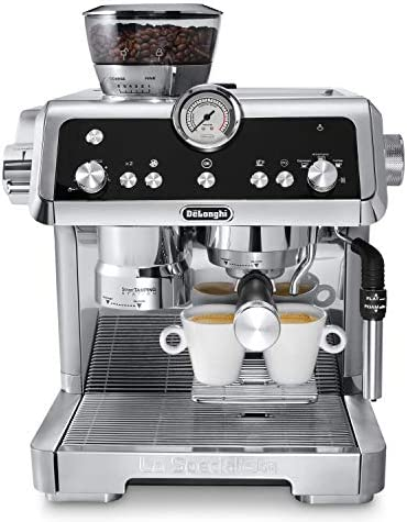 De Longhi La Specialista Espresso Machine with Sensor Grinder, Dual Heating System, Advanced Latte System Hot Water Spout for Americano Coffee or Tea, Stainless Steel, EC9335M