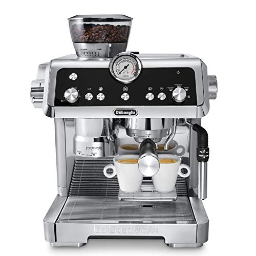 De'Longhi La Specialista Espresso Machine with Sensor Grinder, Dual Heating System, Advanced Latte System & Hot Water Spout for Americano Coffee or Tea, Stainless Steel, EC9335M ()