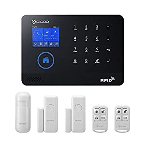 Digoo DG-HOSA 433MHz Wireless 3G&GSM&WIFI Home and Business Security Alarm System, DIY Smart Alarm Systems Kits Infrared Motion Sensor Door Magnetism Alert with APP Control, Update Version