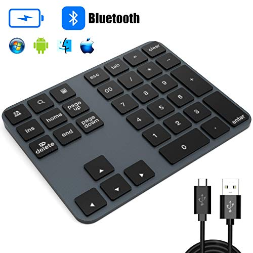 Numeric Keypad, TedGem Bluetooth Number Pad Portable Rechargeable Wireless Number Pad 34-Keys Aluminum Number Pad for Laptop Shortcut Keypad Data Entry Compatible with Windows/Android/iOS/OS