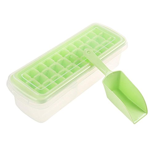 (Rumas 33 Cubes Ice Tray Set with Lid Cover, Ice Maker Mold for Whiskey/Food Fresh/Jelly (Green))